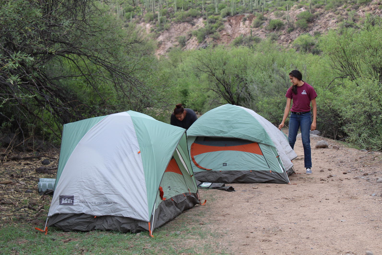 River Pathways interns Nyah Torres and Aritzel Baez prepare for a night on the Agua Fria River the night before a Yellow-billed Cuckoo survey.
