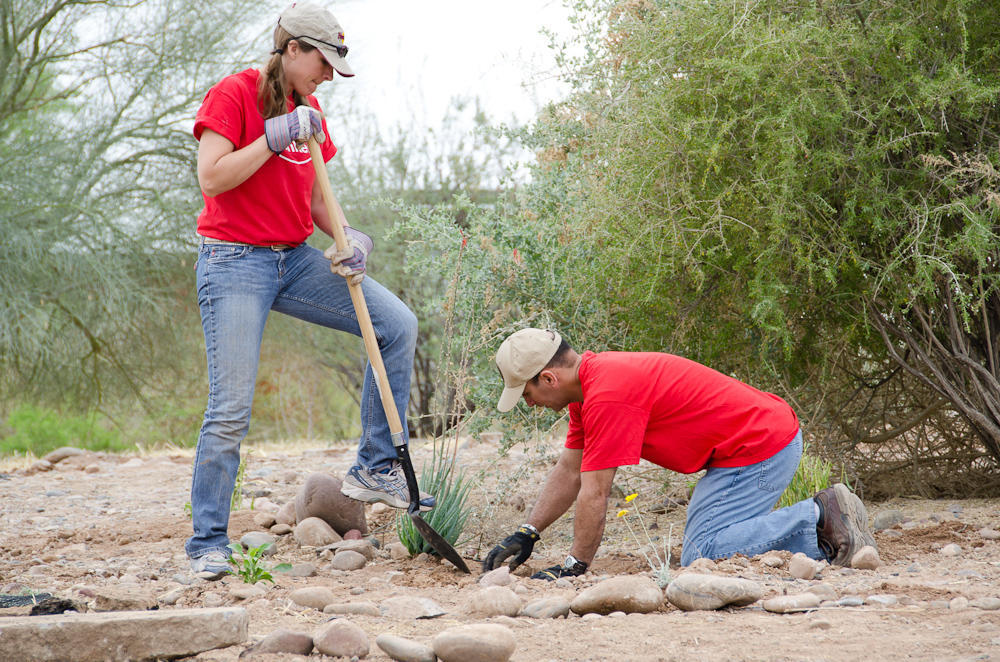 Working as a team, two Conservation Workday volunteers add a native plant to the Rio Salado Audubon Center Garden.