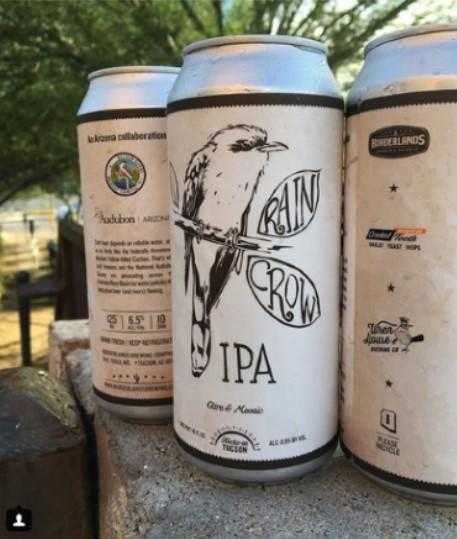 A can of Rain Crow IPA featuring the Western Yellow-billed Cuckoo and Audubon branding