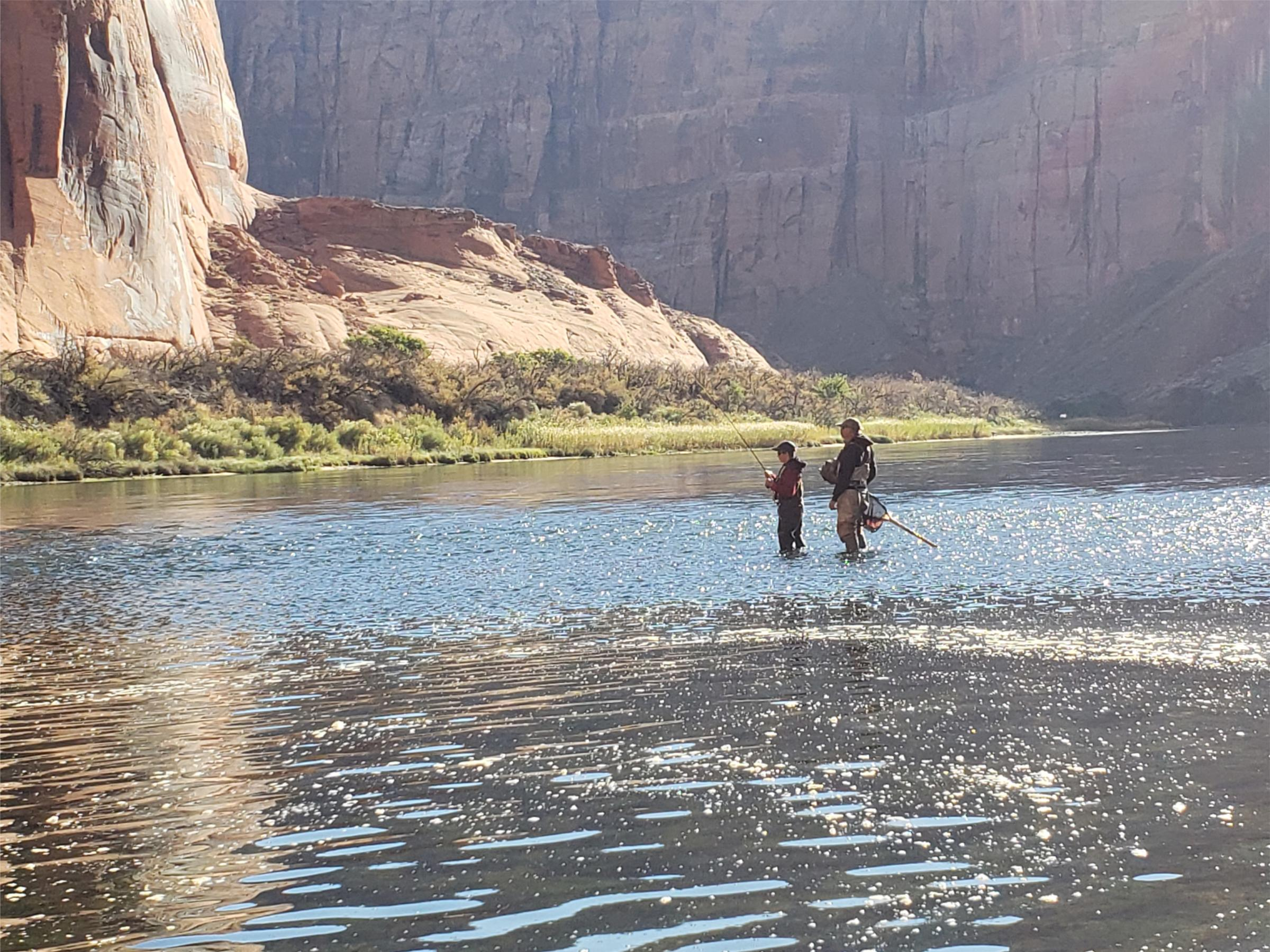 Two people fish Lees Ferry on the Colorado River
