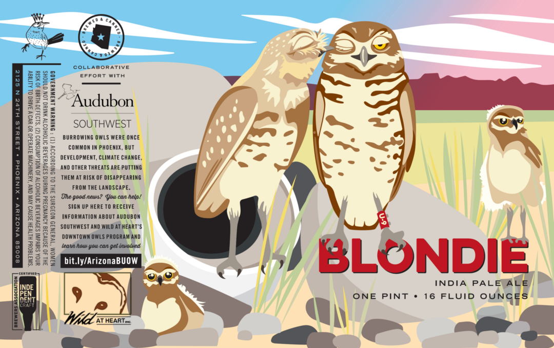 The label of Wren House Brewing Company's U-9 Lager featuring U-9 with his green identifying leg band, Blondie with her pale plumage, and a clutch of owlets clustered at an artificial burrow.