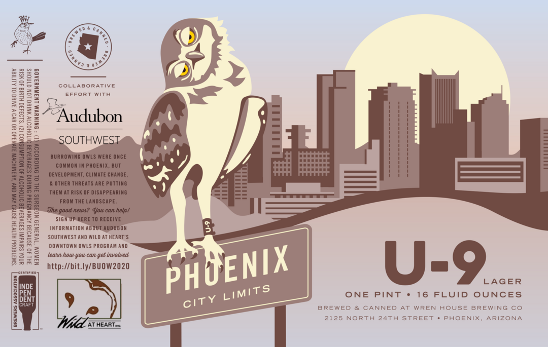 Burrowing Owl against a Phoenix skyline - the label for Wren House Brewing Company's U-9 Lager.
